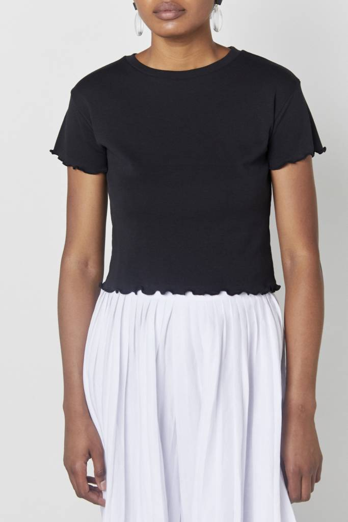 Vegas Cropped Black Tee