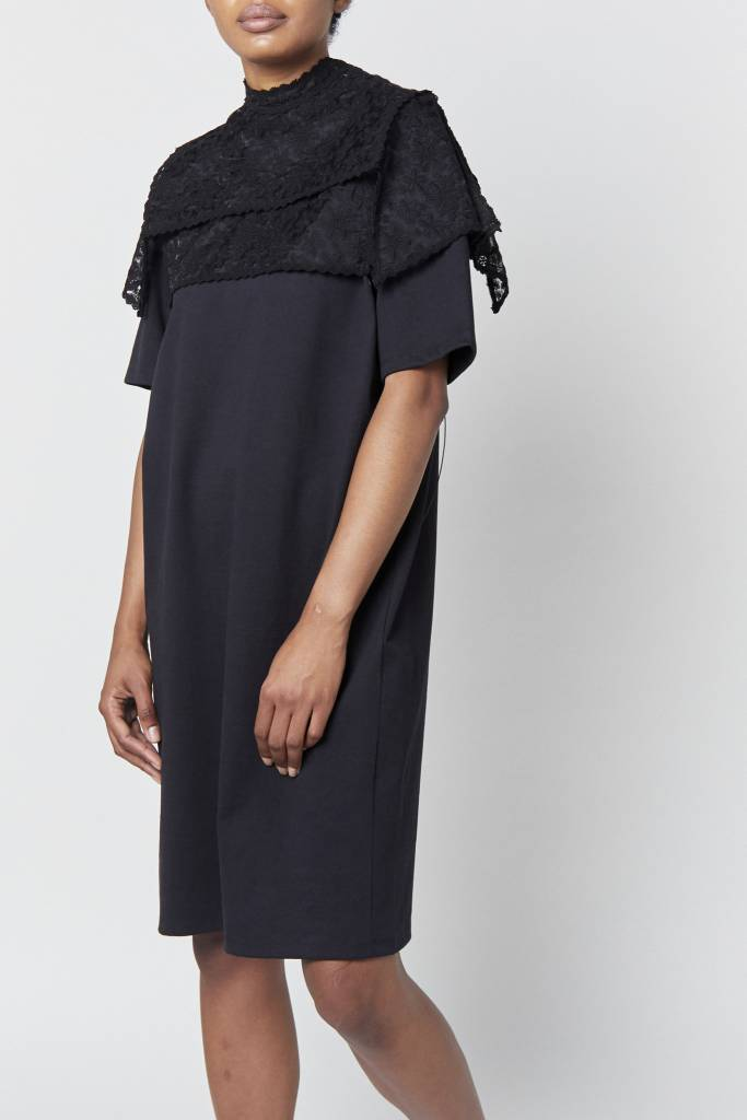 Vegas Embellished Black T-Shirt Dress