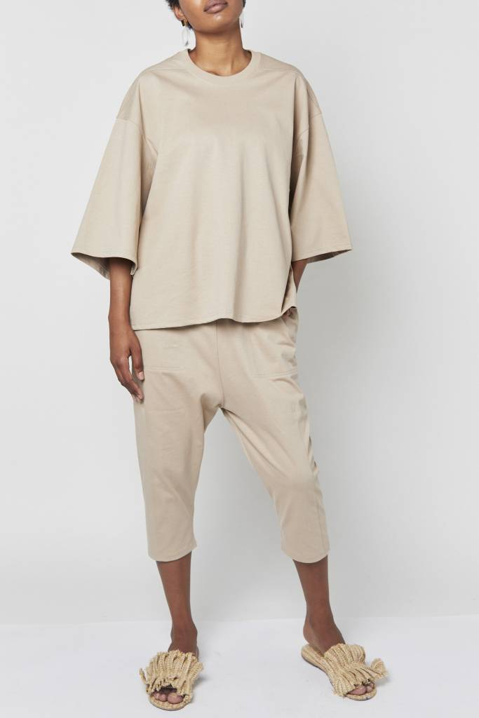 Vegas Oversized Beige Boxy Top