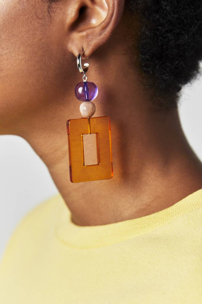NYU.NYU Square Orange Earrings