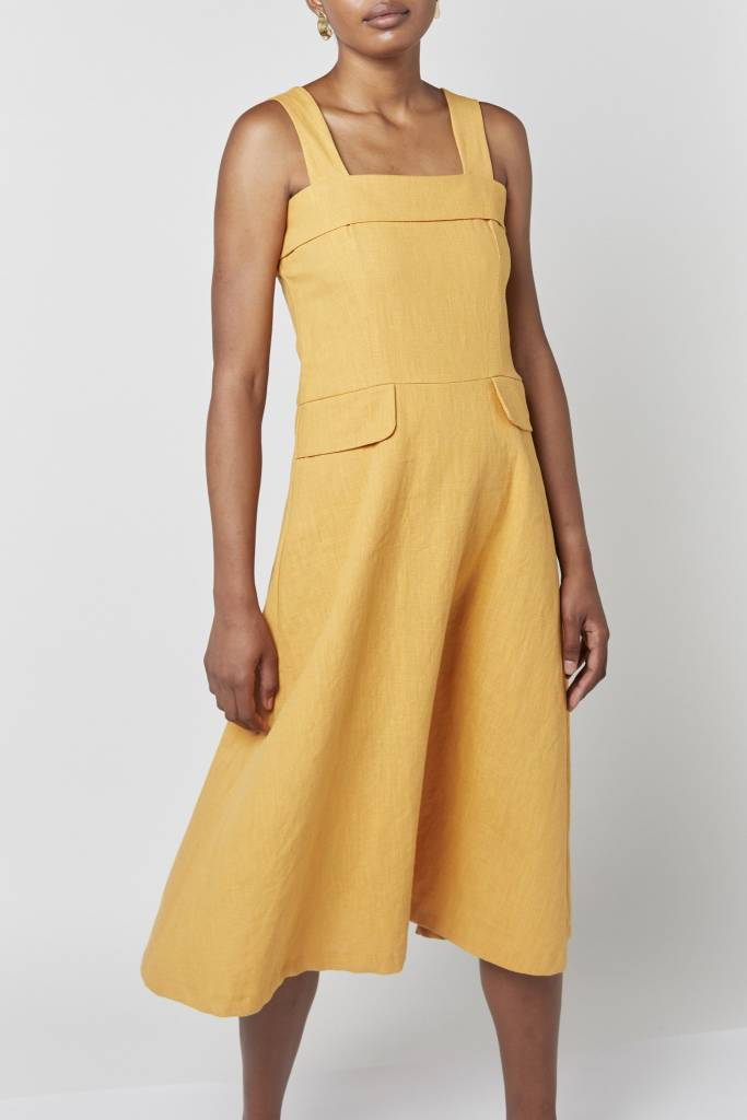 Coline Strap Mustard Maxi Dress