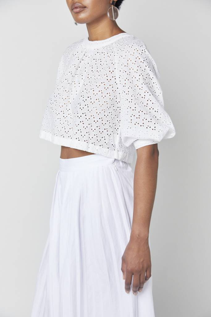 White Eyelet Backless Top