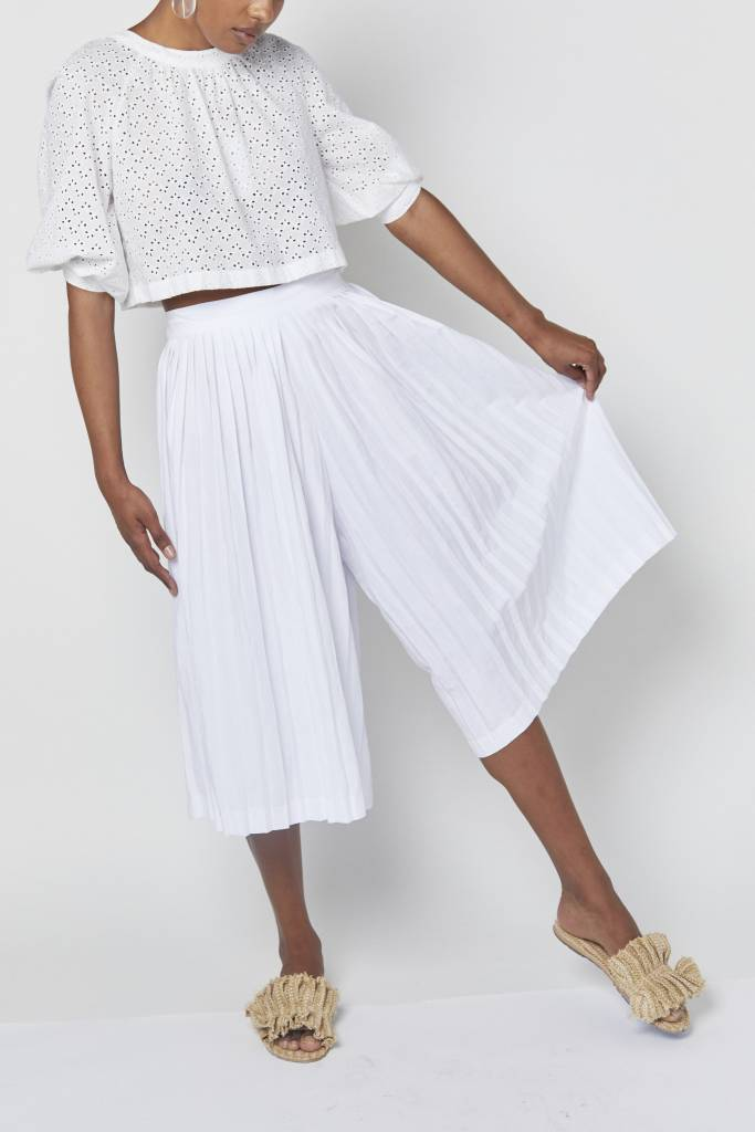 Vegas White Pleated Culottes