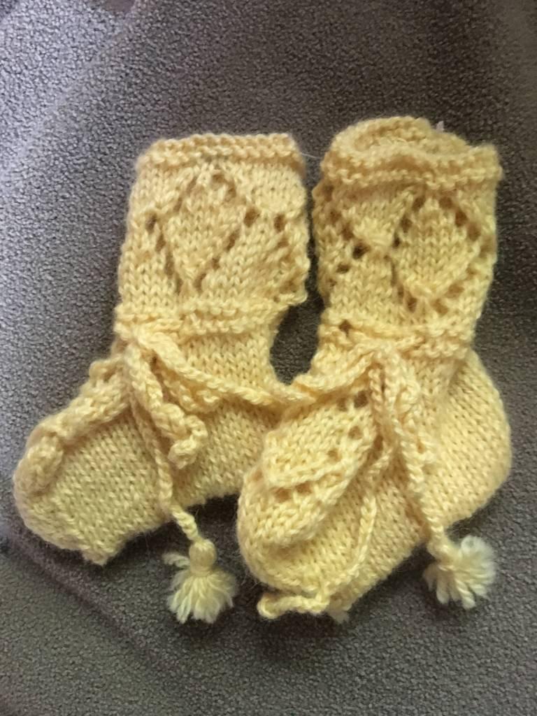 Hand Knit  Heirloom booties 100%  alpaca