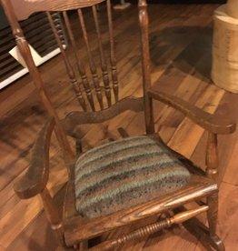 Small Antique Rocker w/Alpaca-LLama Seat RLCH33