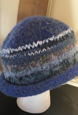 Hand Crafted Blue Felted Hat with Embellishments