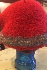 Hand Knit & Felted Beret Red & Grey