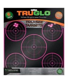 """TruGlo Tru-See Splatter Target 5-Bull 12""""x12"""" Pink 6pk"""