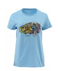 Simms Womens Larko Brown Trout Bouquet SS Tee