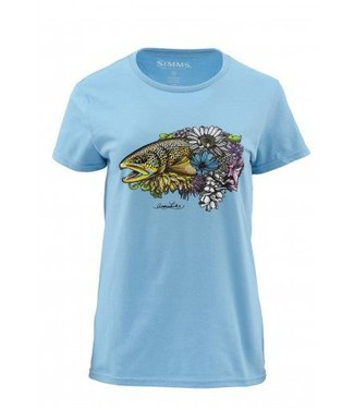 Simms Simms Women's Larko Brown Trout Bouquet - Short Sleeve Tee