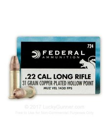 Federal 22LR 31gr Copper-Plated Hollow Point
