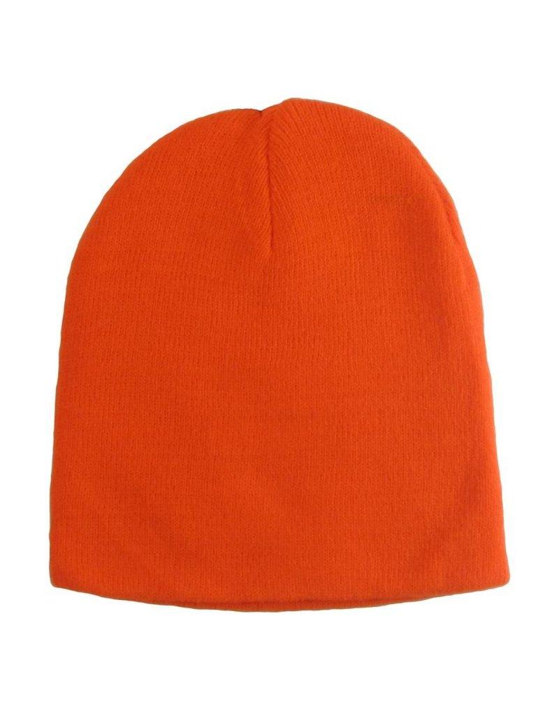 Beartooth Knit Beanie Blaze Orange Fine Gauge 2-Ply Knit Beanie