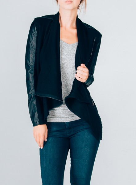Jacket with Faux Leather Sleeves