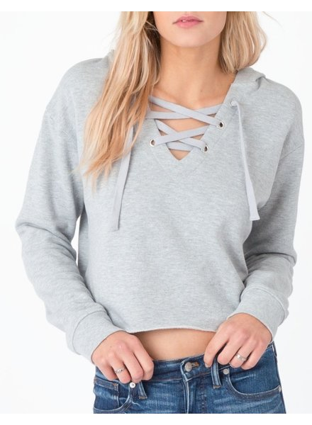 Cropped Lace Up Hoodie
