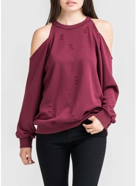 Distressed Cold Shoulder Sweatshirt