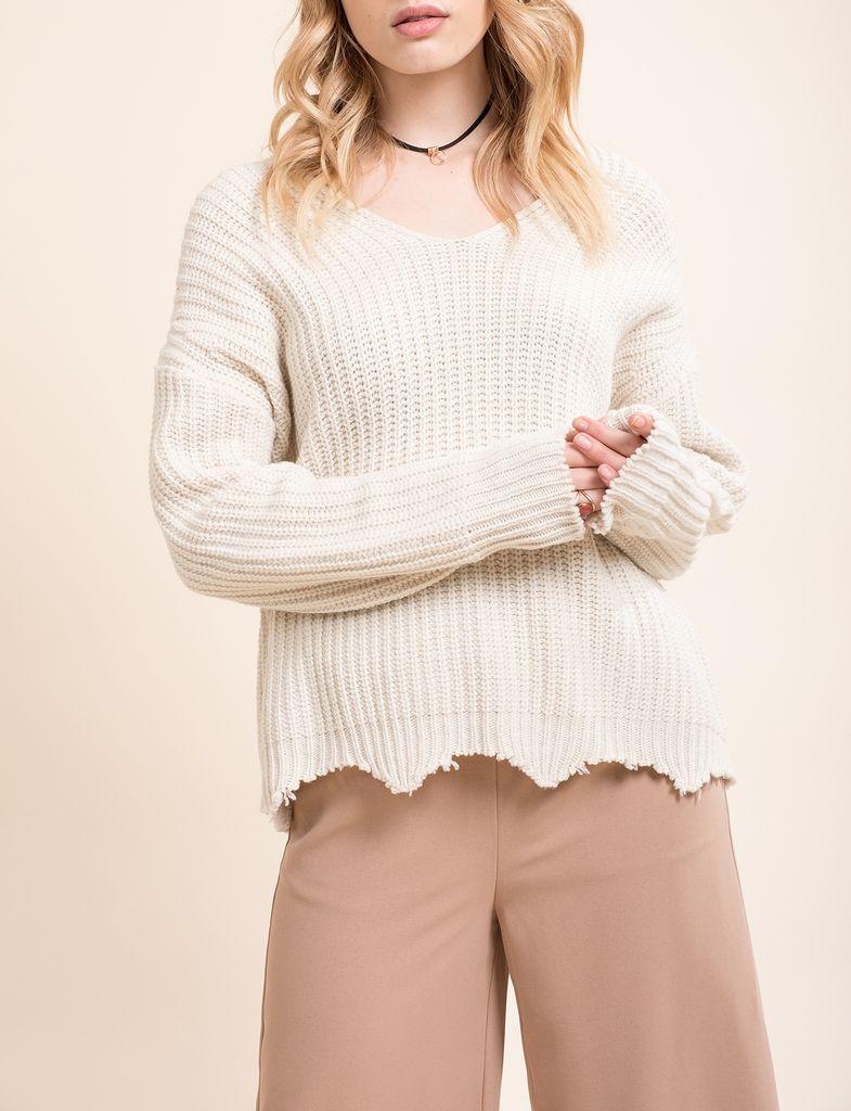 Distressed Scalloped Hem Sweater