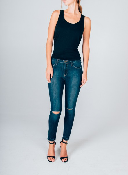 Skinny Jeans with Knee Slits and Released Hem