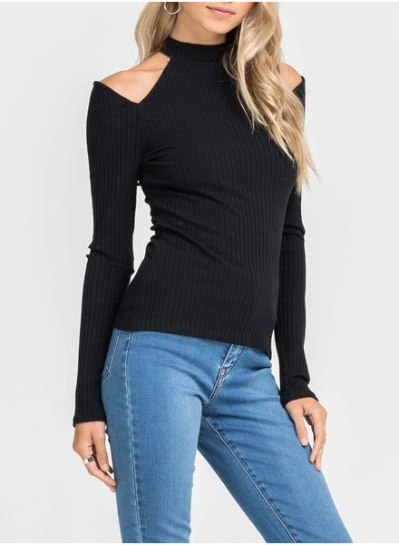 Tight Cold Shoulder Mock Neck Sweater