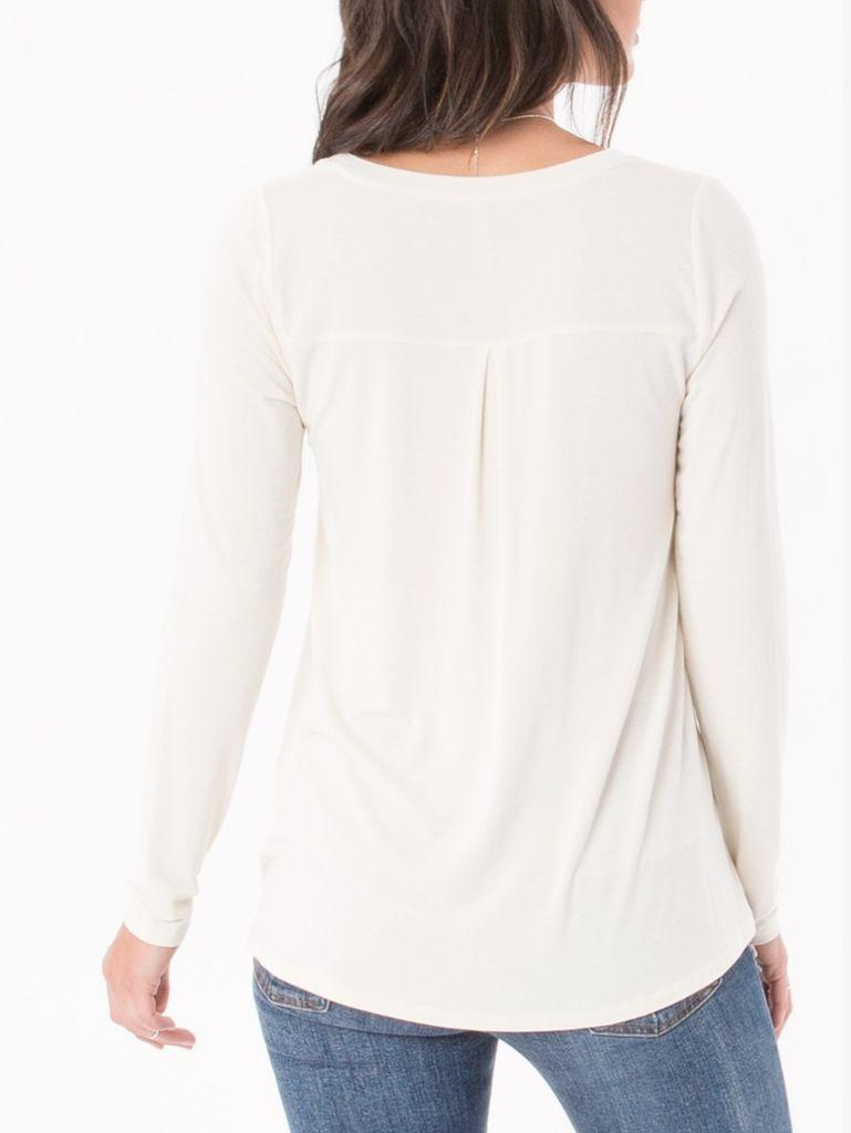 Long Sleeve Split Neck Shirt