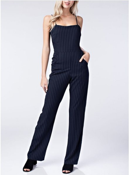 Honey Punch Navy Pinstriped Jumpsuit