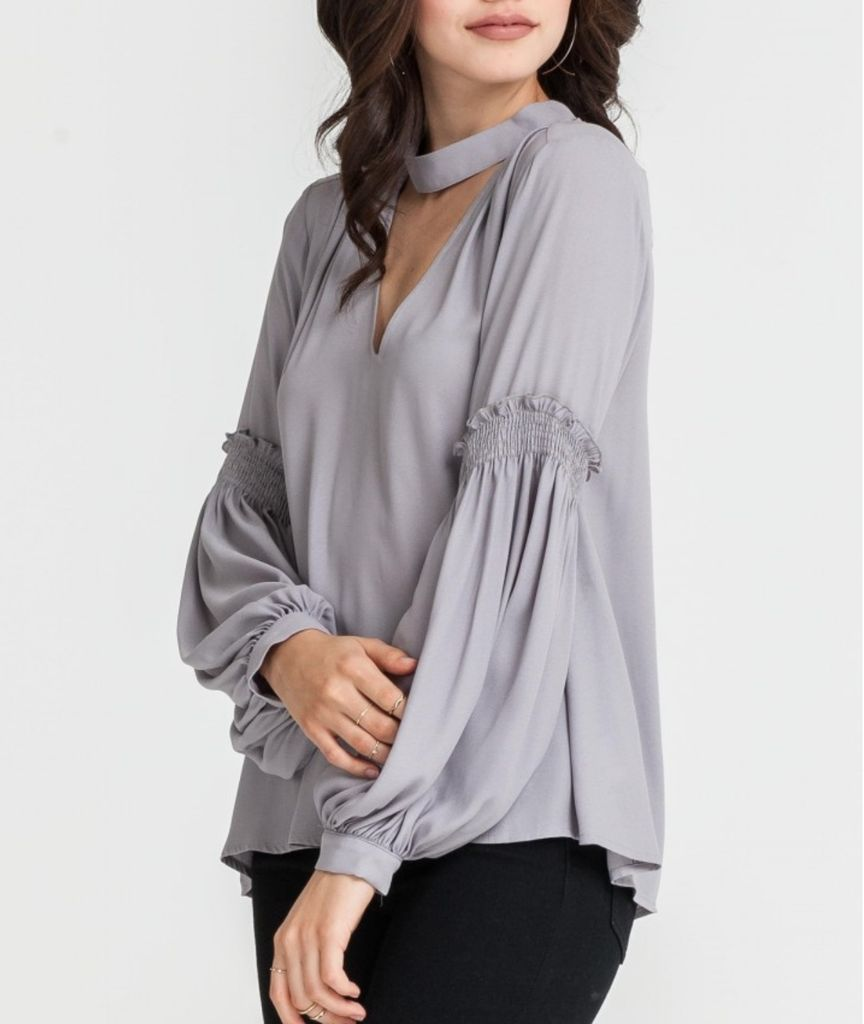 Cut Out Collar Blouse