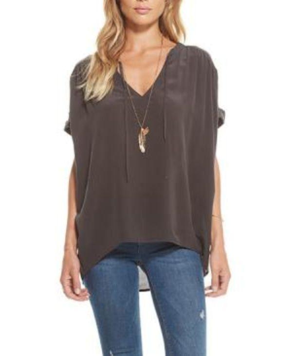 Chaser Silk Short Sleeve Blouse