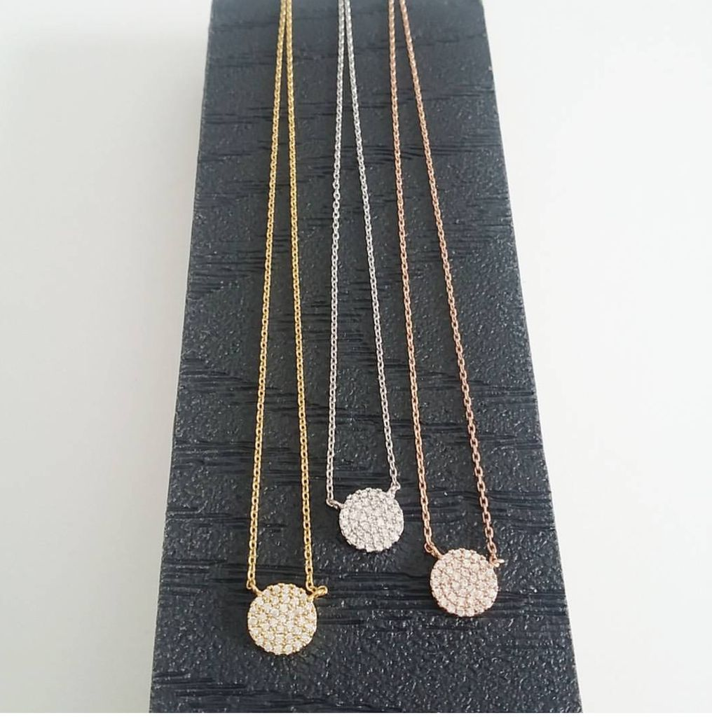 Pave Disc Necklace