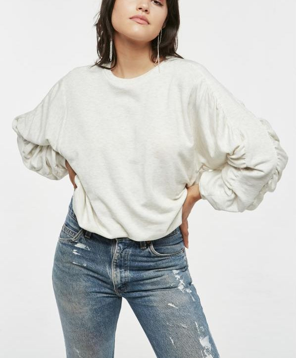 Rouched Sleeve Sweater