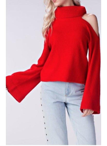 Honey Punch Cold Shoulder Sweater
