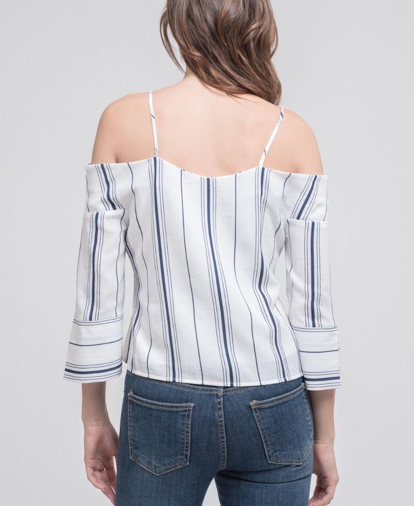 Striped Cold Shoulder Top