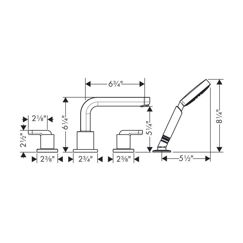 Hansgrohe Hansgrohe 31448001 Metris S 4 Hole Roman Tub Set Lever Handles Chrome