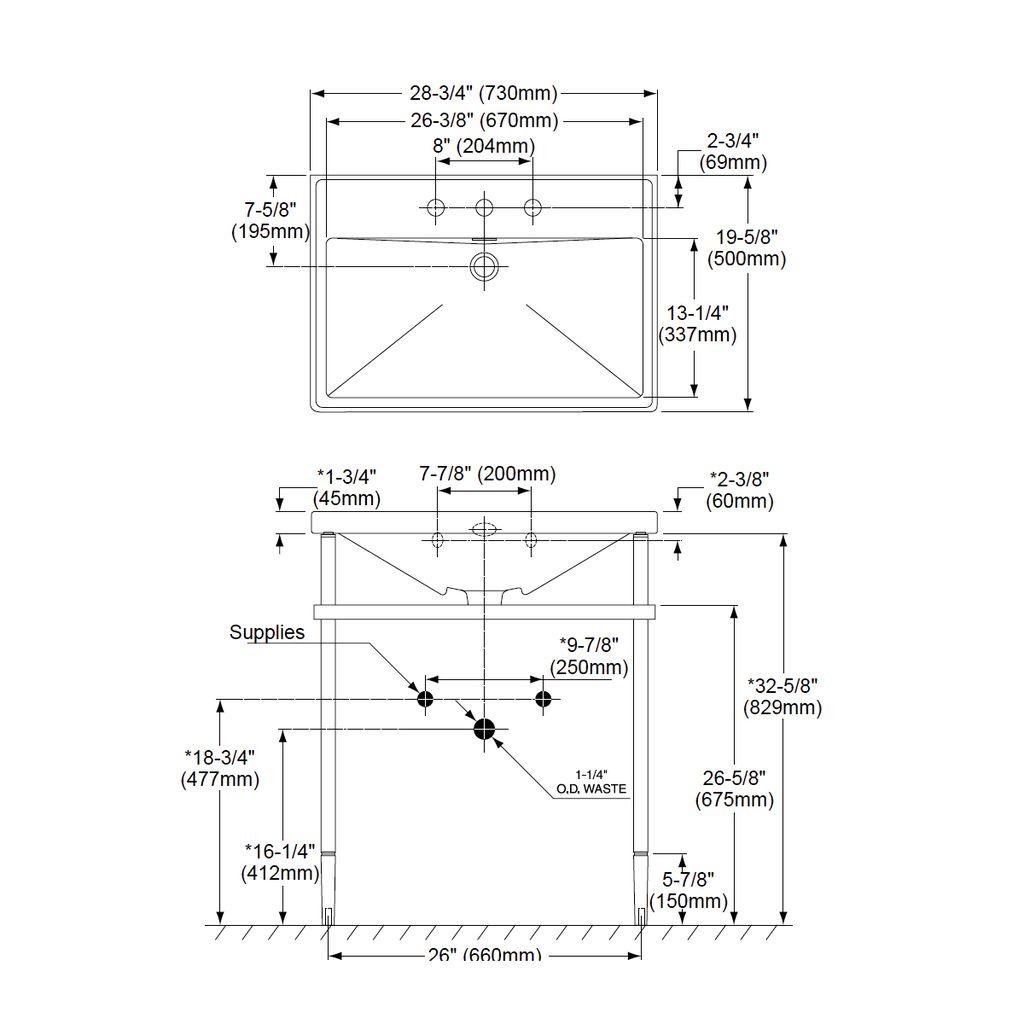 TOTO Lloyd Metal Console Lavatory Single Hole - Home Comfort Centre