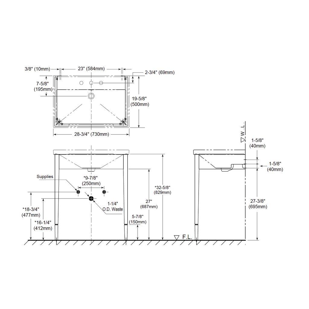 TOTO Lloyd Wood Console Lavatory Single Hole - Home Comfort Centre