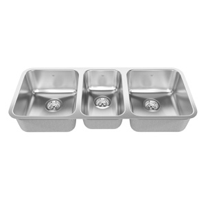 Kindred Kindred Triple Bowl Undermount 20 Gauge Small Center Bowl QTU1842/8