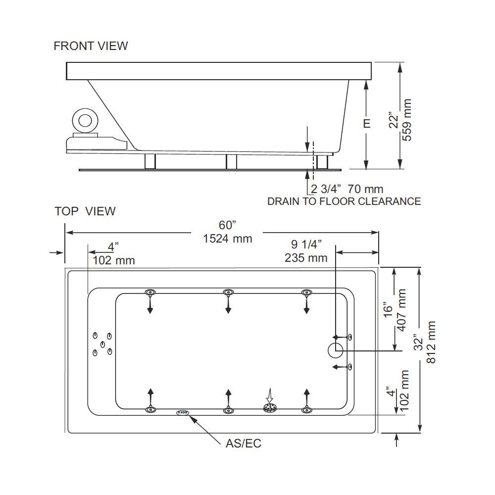Mirolin bo652 adda 2 profile 60 x 32 drop in bath tub for Drop in tub dimensions