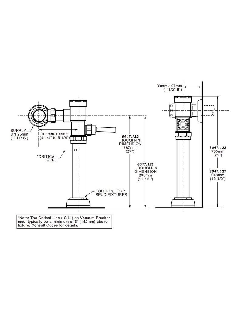 "American Standard American Standard 6047121 Exposed Flushometer for 1-1/2"" Top Spud Bowls 1.28 GPF"