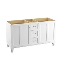 Kohler Kohler 99524-LG-1WA Damask 60 Bathroom Vanity Cabinet With Furniture Legs 2 Doors And 3 Drawers
