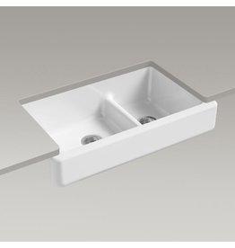Kohler Kohler 6426-0 Whitehaven Self-Trimming Smart Divide 35-1/2 X 21-9/16 X 9-5/8 Under-Mount Large/Medium Double-Bowl Kitchen Sink With Short Apron