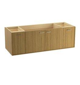 Kohler Kohler 99546-SD-1WN Jute 60 Wall-Hung Bathroom Vanity Cabinet With 2 Doors And 2 Drawers Split Top Drawer
