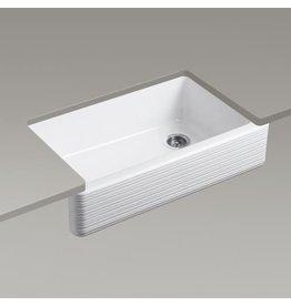 Kohler Kohler 6351-0 Whitehaven 35-11/16 X 21-9/16 X 9-5/8 Under-Mount Self-Trimming Single-Bowl Kitchen Sink With Tall Apron And Hayridge Design