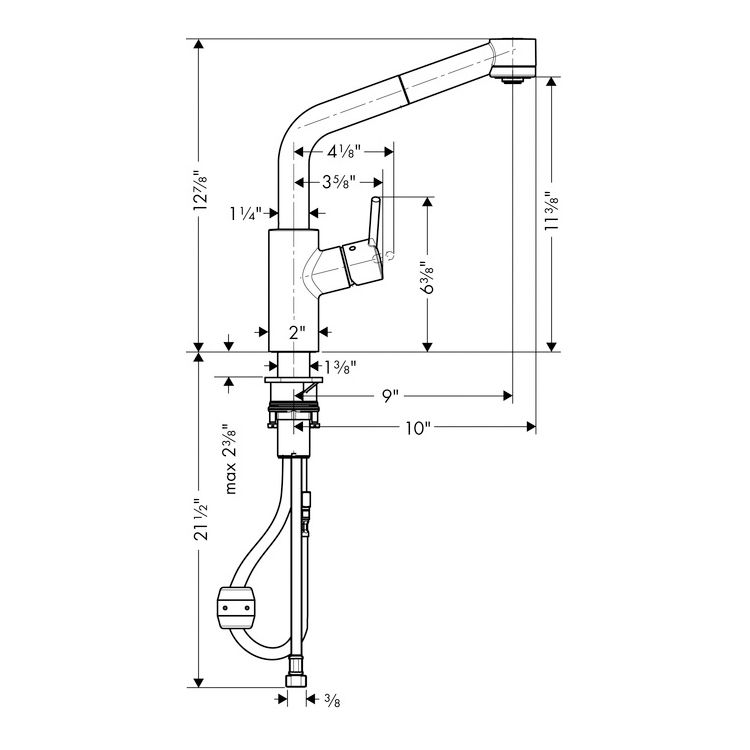 Hansgrohe 04247800 Talis S 2 Spray SemiArc Pull Down Kitchen Faucet ...