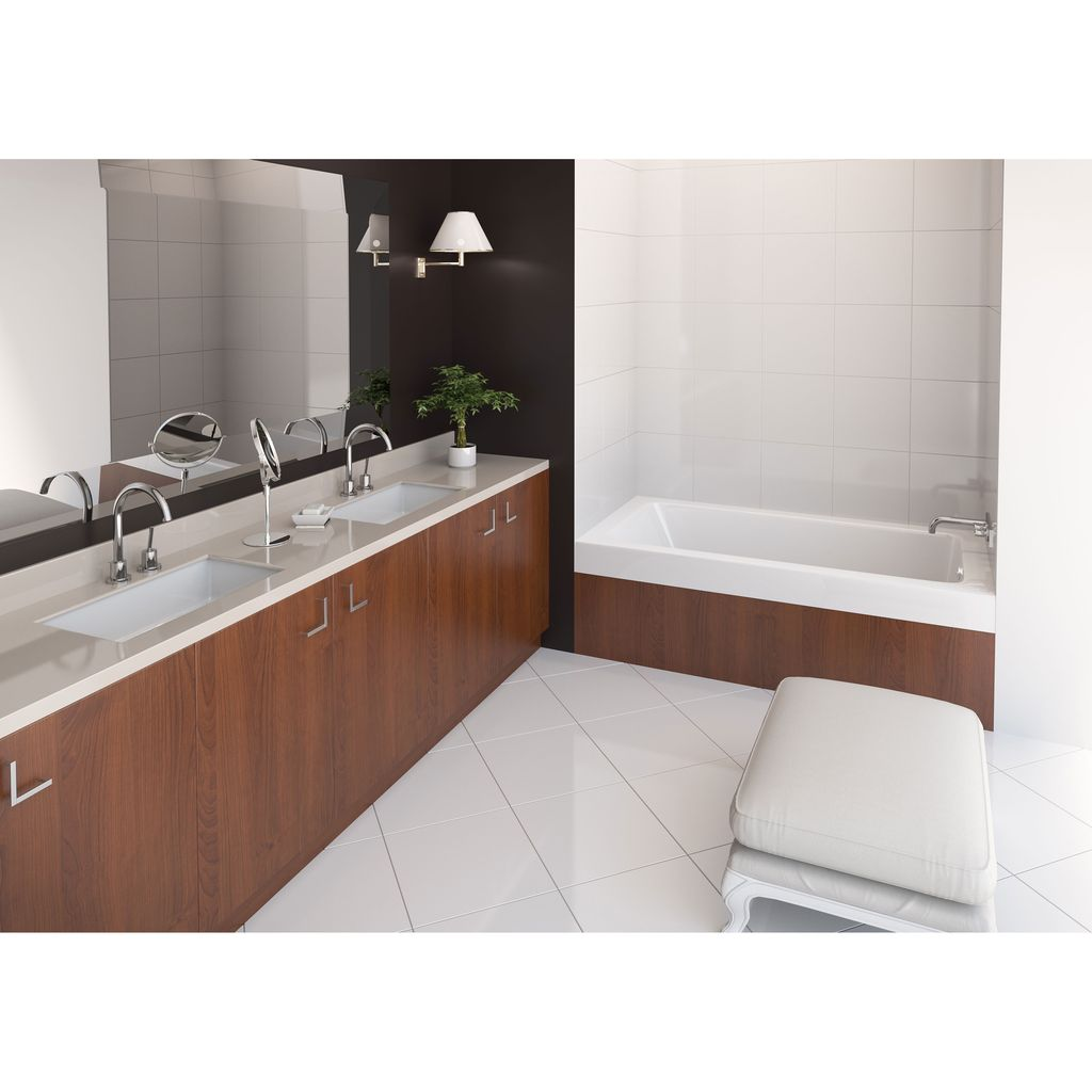 bathtub inch product rectangle left garden shipping tub soaking delano today alcove white free overstock home x