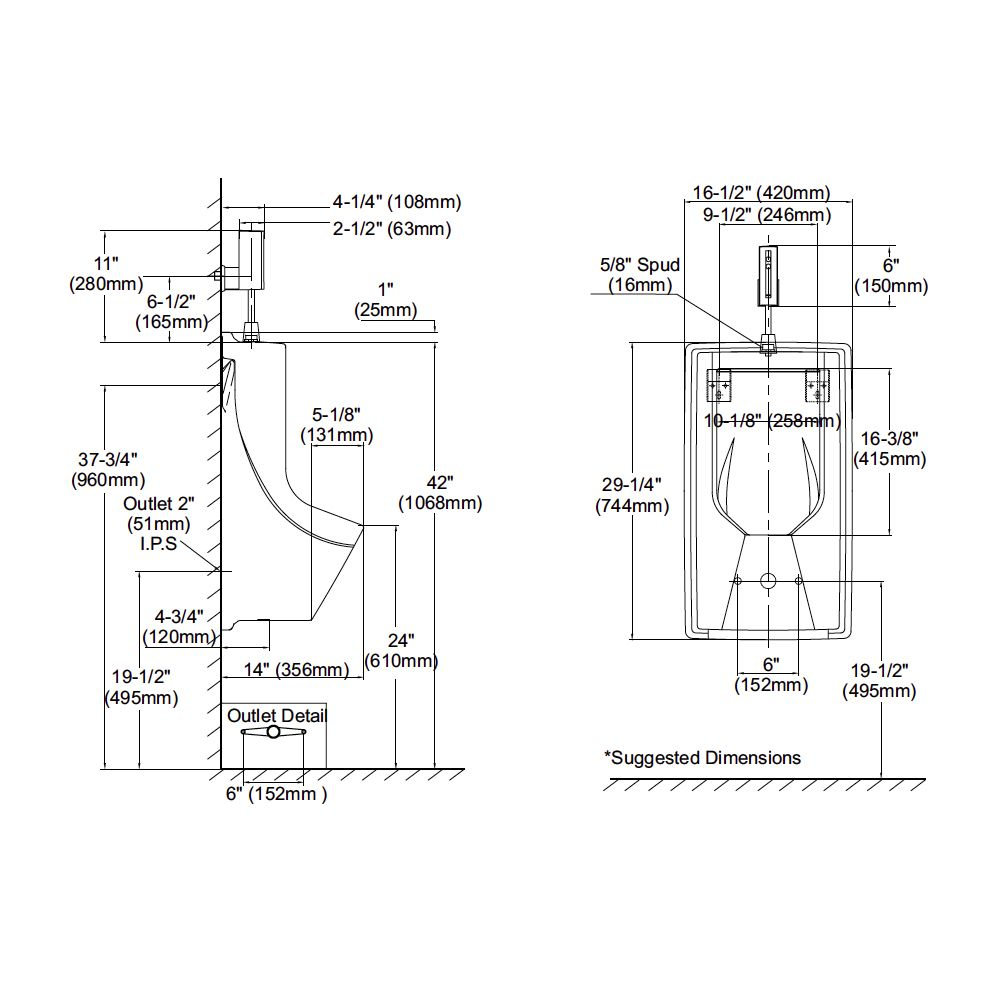 TOTO UE93012 Lloyd Urinal With Electronic Flush Valve ADA - Home ...
