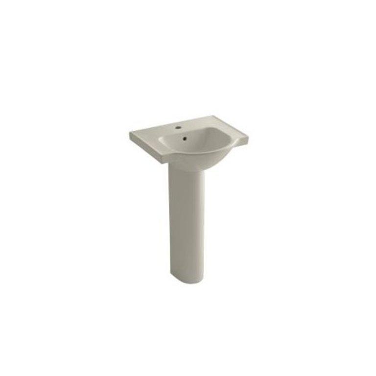 Kohler K5265 Veer 21 Pedestal Bathroom Sink Single Faucet Hole