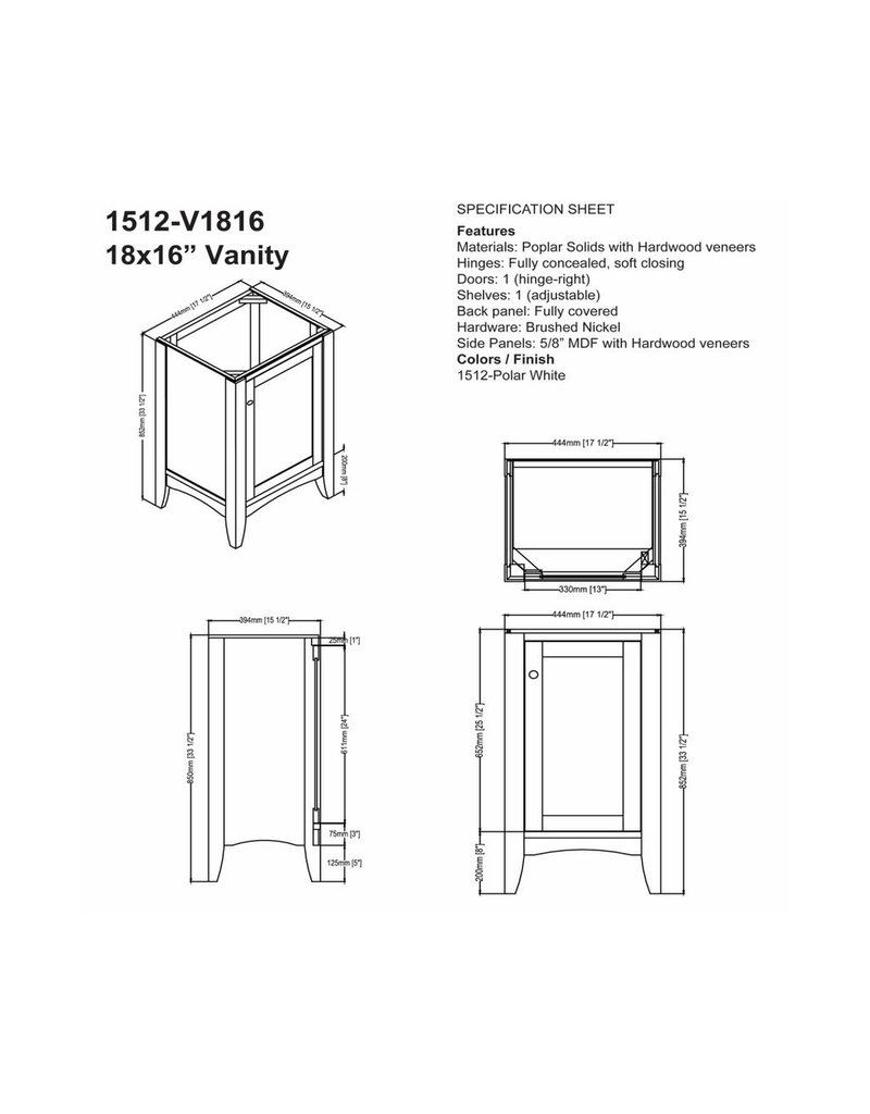 "Fairmont Designs Fairmont Designs 1512-V1816 Shaker Americana 18x16"" Vanity Polar White"