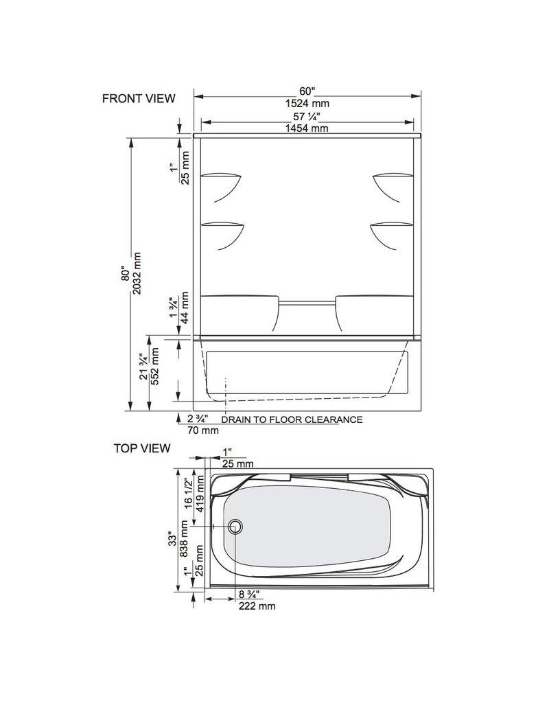 Mirolin Ba32l R Belaire 2 Tub Shower White Home Comfort