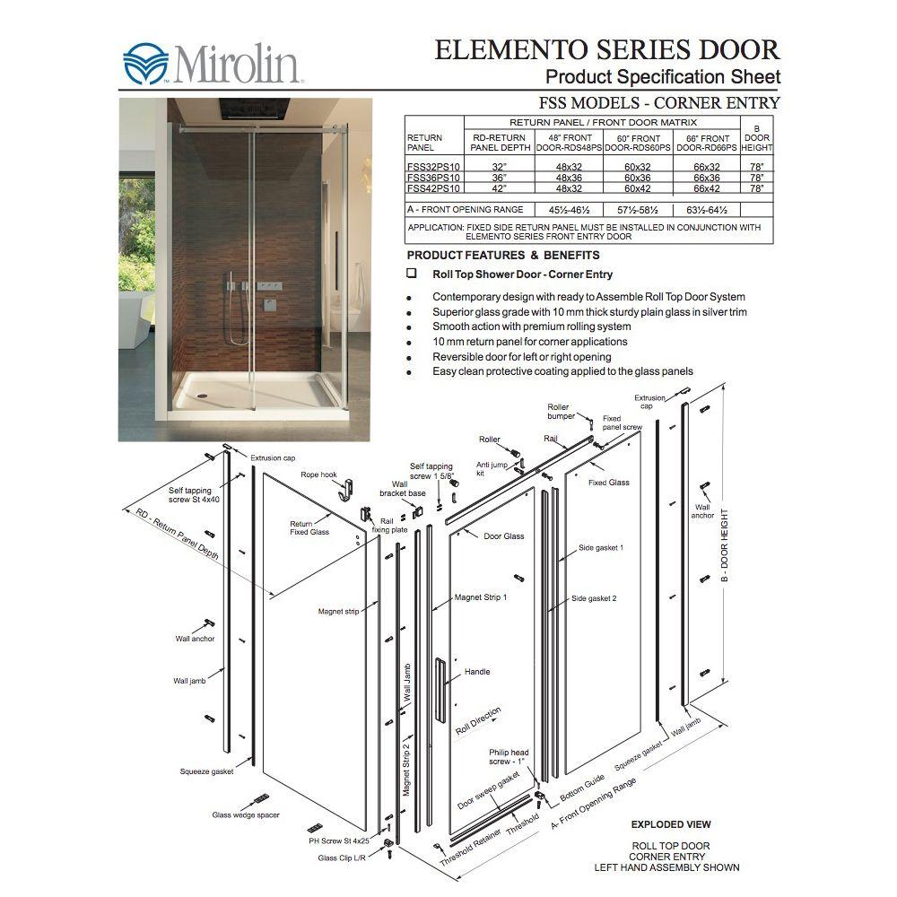 ... Mirolin Mirolin RDS48 Elemento Roll Top Door Plain Silver