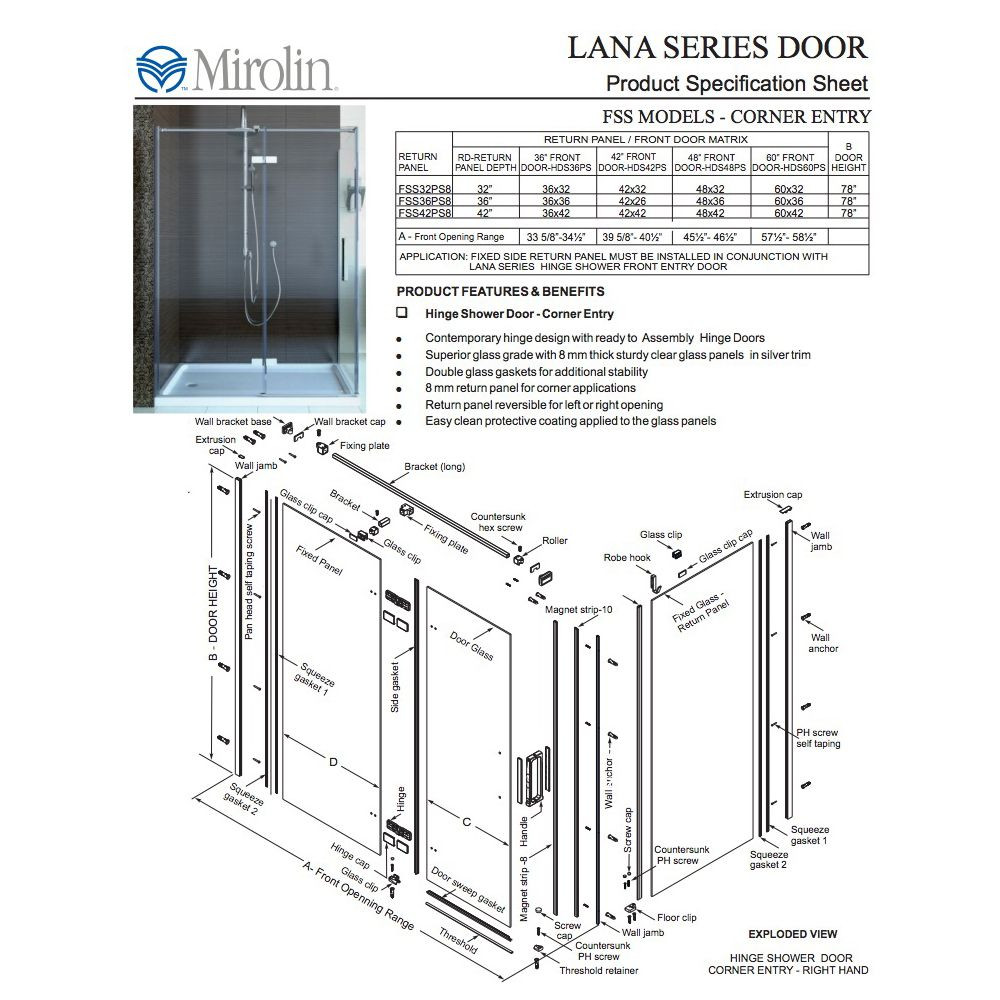 Mirolin Hds60psl Lana Hinge Shower Door Plain Silver Home Comfort