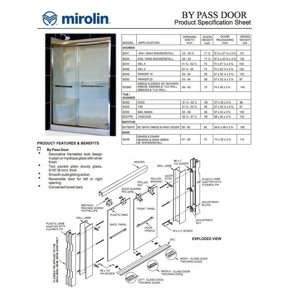Mirolin Bds60 Bypass Shower Door Mystique Silver Home Comfort Centre