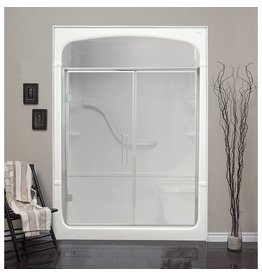 Mirolin Mirolin FD41 Fixed Panel Pivot Door Plain Silver